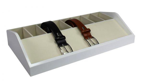 Holz Gürtelbox Weiß mit 8 Fächern 01