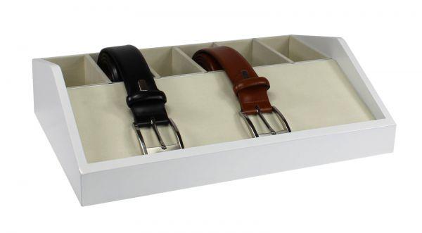 Holz Gürtelbox Weiß mit 6 Fächern 01