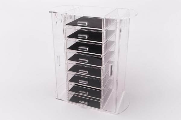 Acryl Schmuckkasten - 8 Fächer und Seitentüren mit Kettenhaken 01